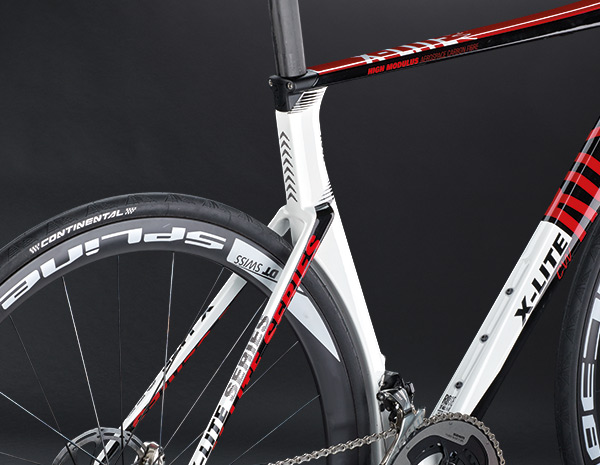 Maximum aerodynamics thanks to the eye-catching seat tube that is perfectly adapted to the tyre