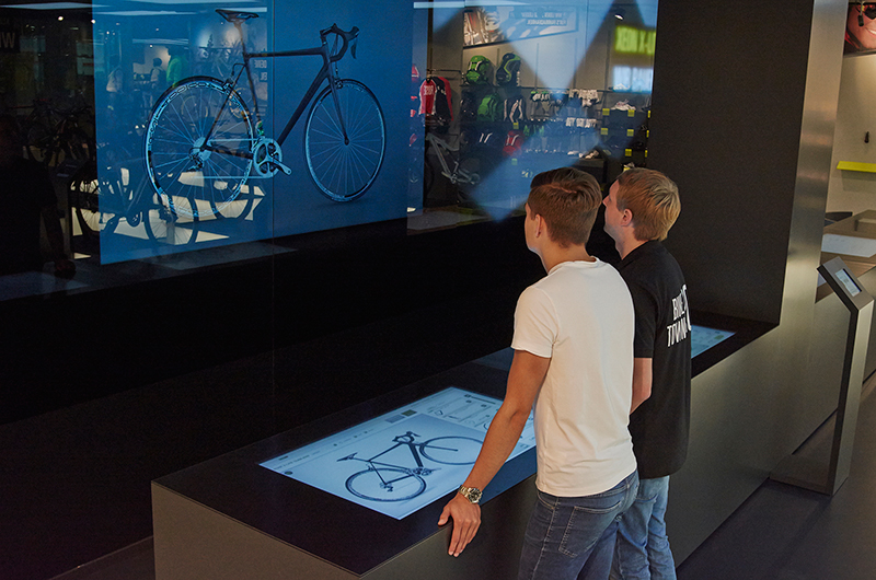 On the interactive wall, you can see your bike in full size