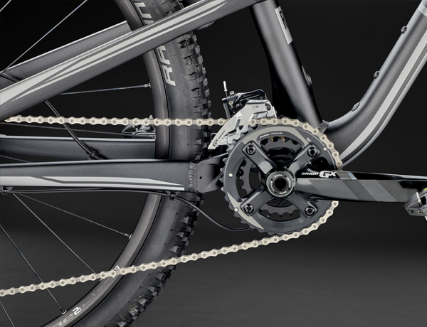SRAM GX 2x11: X-GLIDE chainrings for highest shifting comfort, forged aluminium crank arms for convincing stability