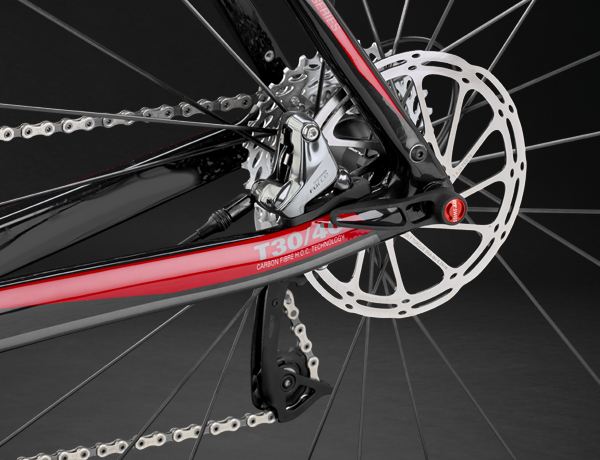 Well protected: disc brake with FlatMount standard, 12mm thru axle