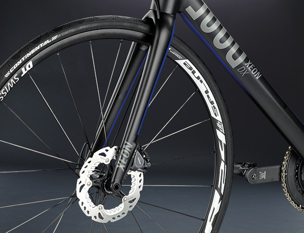 Full carbon voorvork met 15 mm steekas en Shimano FlatMount disc brake voor perfecte remacties