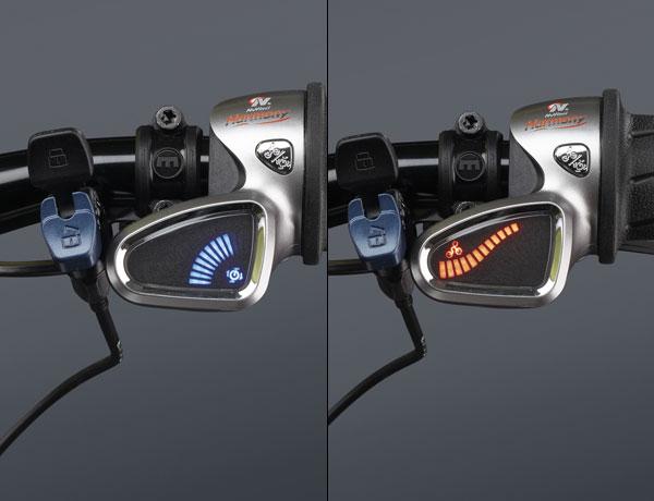 """Two-in-One: """"Auto-Mode"""" (blau): Trittfrequenz wird festgelegt, Schaltung automatisch, """"Manueller Betrieb"""" (rot): Fahrer stellt Übersetzung stufenlos ein"""
