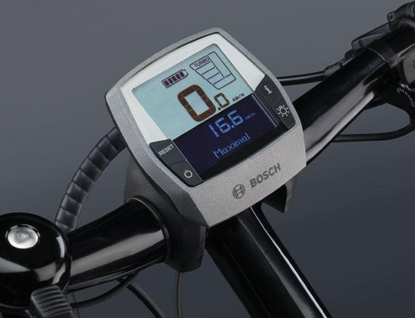 Boordcomputer voor de e-bike: Intuvia display van Bosch waarmee ook mobiele telefoons kunnen worden opgeladen.