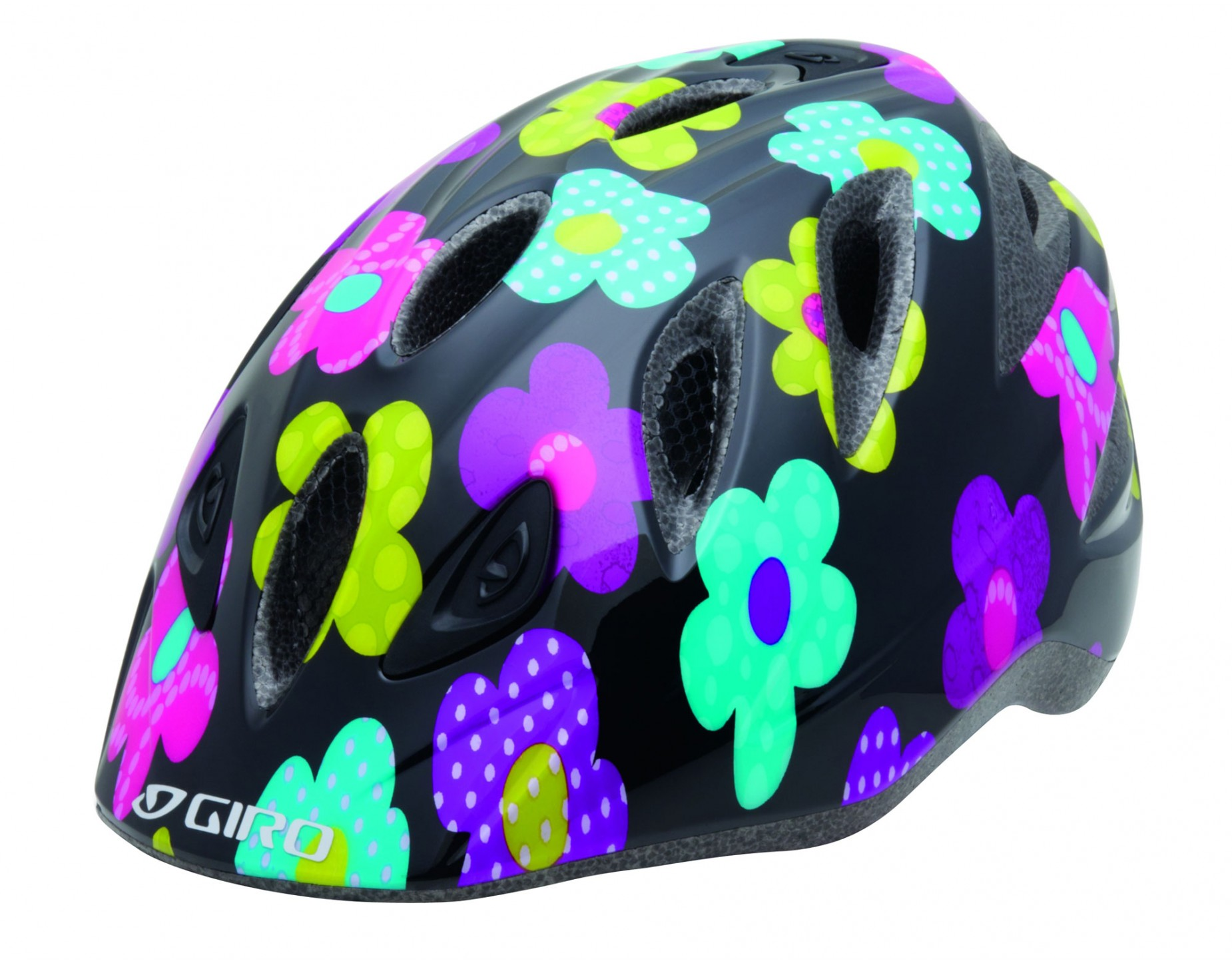 GIRO kinderhelm RASCAL black hot pink flowers