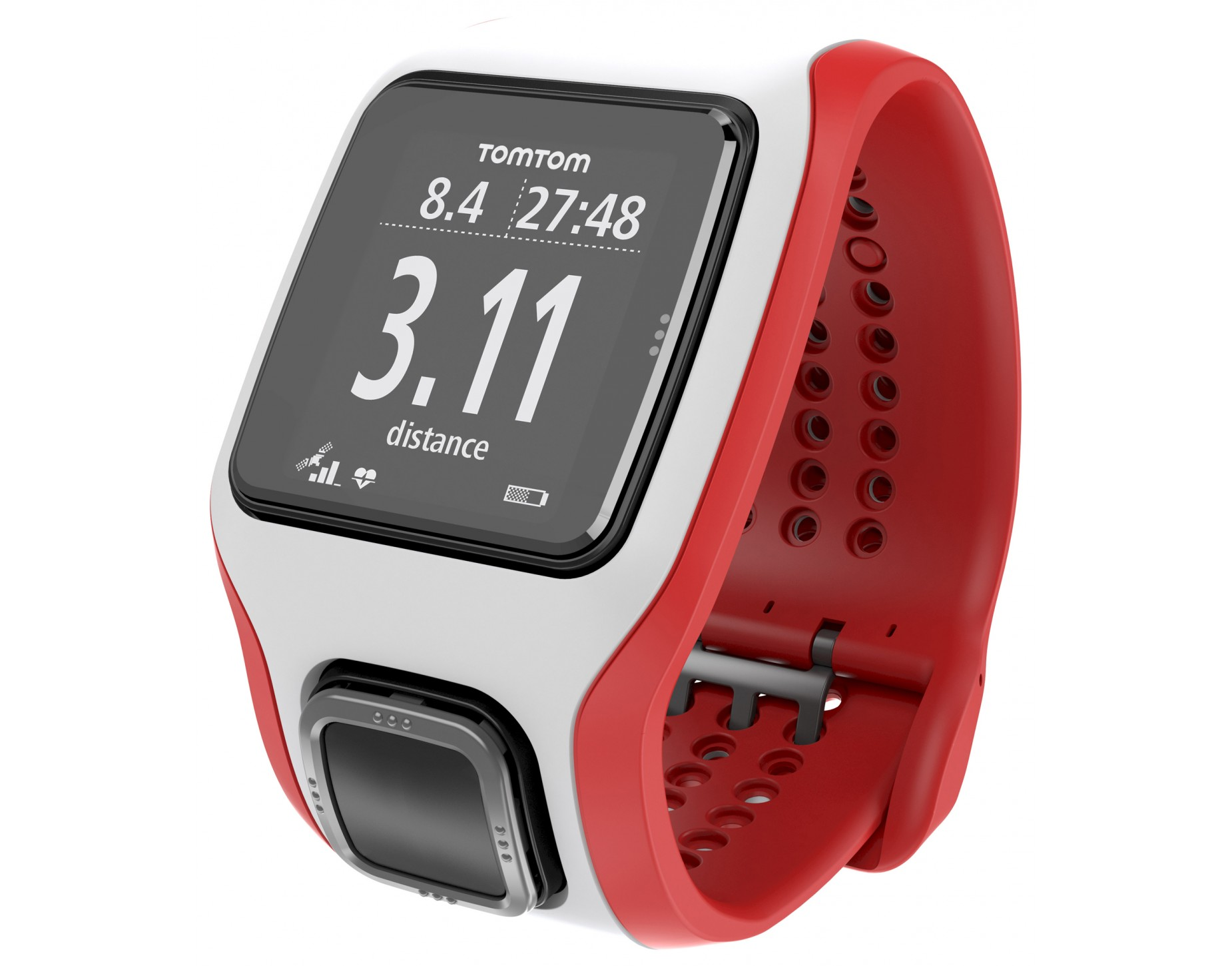 tomtom runner cardio gps montre cardio pulsom tre sans sangle pectorale blanc rouge. Black Bedroom Furniture Sets. Home Design Ideas