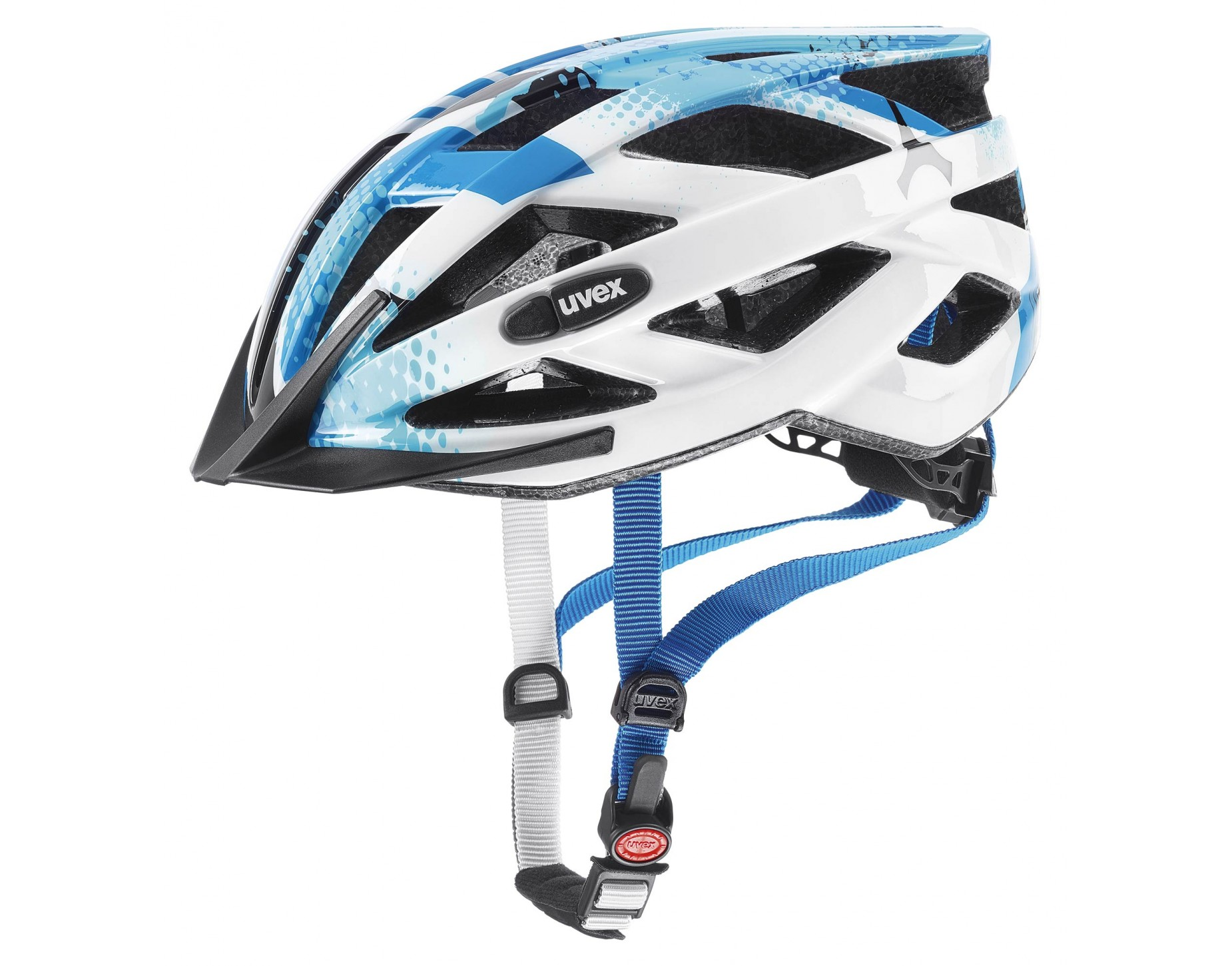uvex air wing kids helmet blue white mat