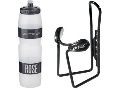 ROSE drinks bottle 1 L + Xtreme Protector Cage bottle cage transparent