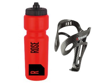 ROSE drinking bottle 800 ml  + Xtreme Pro AL3CA bottle cage red/transp.