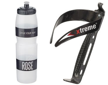 ROSE 1 litre drinks bottle + Xtreme CA 66 bottle cage set transparent