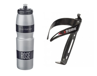 ROSE 1 litre drinks bottle + Xtreme CA 66 bottle cage set grey