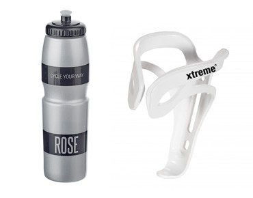 ROSE 1 litre drinks bottle + Xtreme Comp FH4 bottle cage set grey