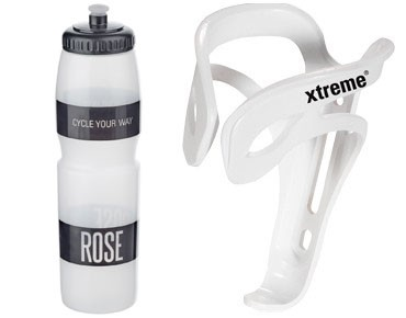 ROSE 1 litre drinks bottle + Xtreme Comp FH4 bottle cage set transparent