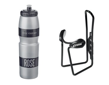 ROSE drinks bottle 1 L + Xtreme Protector Cage bottle cage grau
