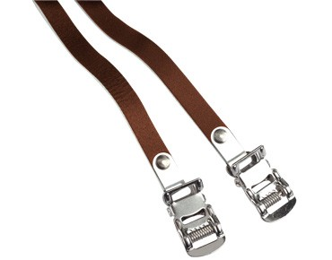 ROSE leather straps for toe clips brown
