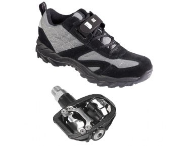 keine Marke MTB shoes + pedals set ROSE RTS 01 & Xtreme Pro Duo Plus 2 black/dark grey