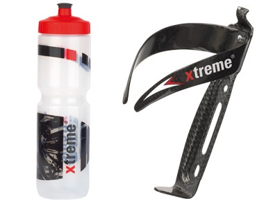 Xtreme Hobby drink bottle 1 L + CA66 bottle cage set transparent