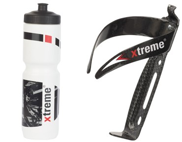 Xtreme Hobby drinks bottle 1 L + CA66 bottle cage set weiß