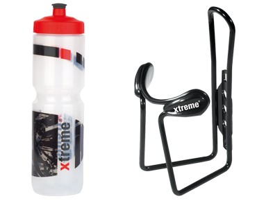 ROSE Xtreme Hobby drinks bottle 1 L + Xtreme Protector Cage bottle cage transparent