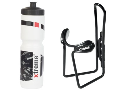 ROSE Xtreme Hobby drinks bottle 1 L + Xtreme Protector Cage bottle cage white