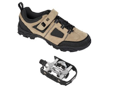 MTB shoes + pedals set ROSE RTS 03 & Xtreme Duo X black-white