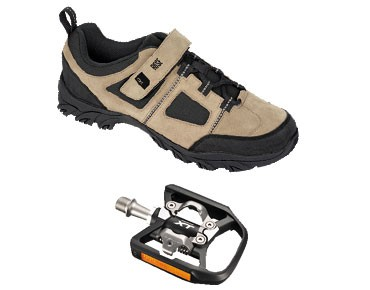 MTB shoes + pedals set ROSE RTS 03 & SHIMANO SPD PD-T780 black-white