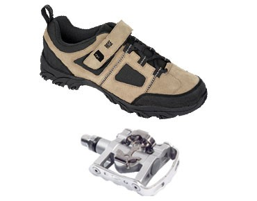 MTB shoes + pedals set ROSE RTS 03 & SHIMANO SPD PD-M324 black-white