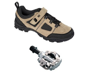 MTB shoes + pedals set ROSE RTS 03 & SHIMANO SPD PD-M540 black/white