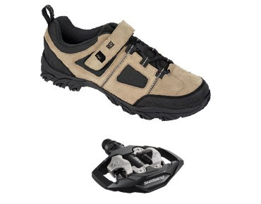 MTB shoes + pedals set ROSE RTS 03 & SHIMANO SPD PD-M530 black-white