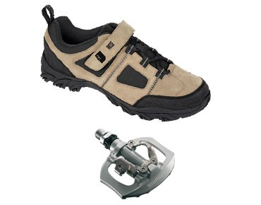 MTB shoes + pedals set ROSE RTS 03 & SHIMANO SPD PD-A530 black-white