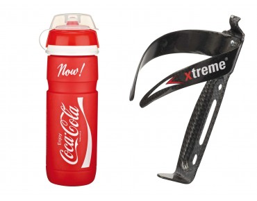 ROSE Elite Supercorsa Coca Cola-Trinkflasche 750 ml + Xtreme CA 66 Flaschenhalter-Set rot
