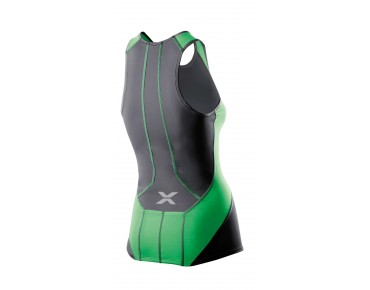 2XU PERFORM women's trip top charcoal/astro green