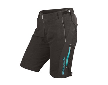 ENDURA SINGLETRACK II damesshort black/teal