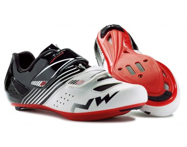 NORTHWAVE TORPEDO JUNIOR Kinder Rennradschuhe white/black/red