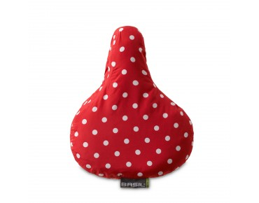 BASIL DOTS SADDLE COVER red/white dots