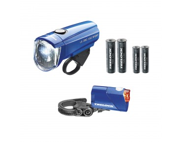 Trelock LS 350 I-Go Sport/ 710 Reego Kombi battery lighting set blau