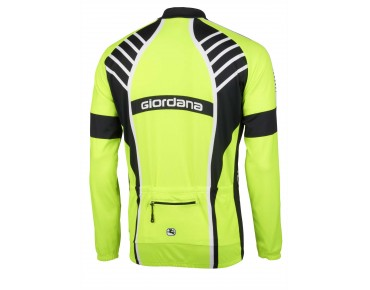 Giordana TRADE VERO Langarm Trikot mit Windschutz flou yellow/black/white