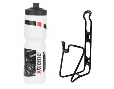 ROSE Xtreme Hobby 1 litre drinks bottle + ergotec bottle cage set white
