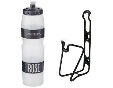 ROSE 1 litre drinks bottle + ergotec bottle cage set transparent