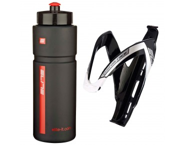 Elite Superfiume drinks bottle 750ml + Custom Race bottle cage black