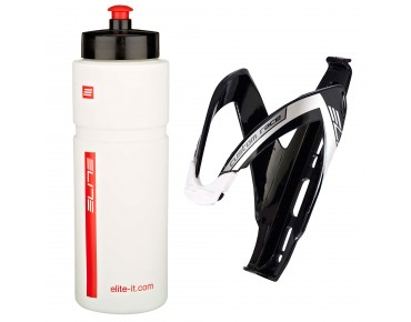 Elite Superfiume drinks bottle 750ml + Custom Race bottle cage white