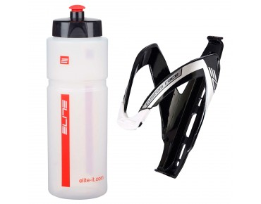 Elite Superfiume drinks bottle 750ml + Custom Race bottle cage transparent