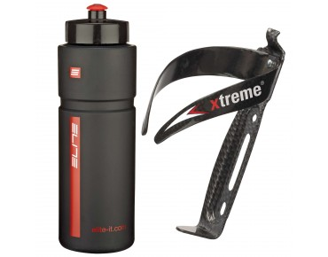 ROSE Elite Superfiume 750ml drinks bottle + Xtreme CA 66 bottle cage set schwarz