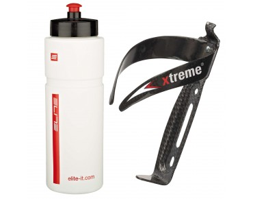 ROSE Elite Superfiume 750ml drinks bottle + Xtreme CA 66 bottle cage set weiß