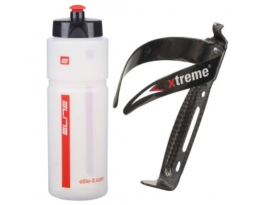 ROSE Elite Superfiume 750ml drinks bottle + Xtreme CA 66 bottle cage set transparent