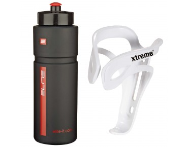 ROSE Elite Superfiume 750ml drinks bottle + Xtreme Comp FH4 bottle cage set black