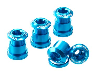 Reverse chainring bolts set of four blue
