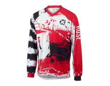 ROSE FR V long-sleeved bike shirt red/black/white