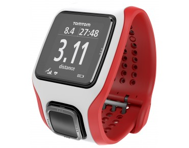 TomTom Runner Cardio GPS watch – heart rate measurement without chest strap – white/red