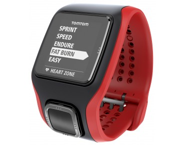 TomTom Runner Cardio GPS watch – heart rate measurement without chest strap – black/red