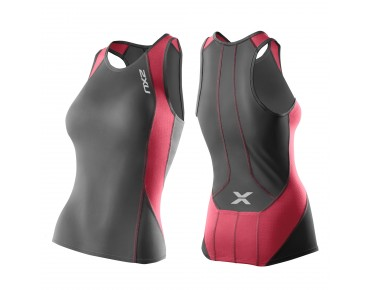 2XU PERFORM Damen Tri Top charcoal/coral paradise
